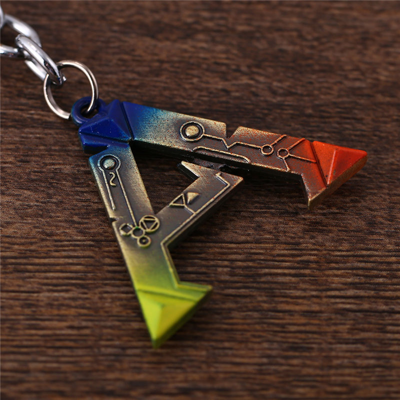 J Store Anime Ark Survival Evolved Keychain multicolor letter Alloy Key Ring For Fans Men Jewelry game car Llaveros