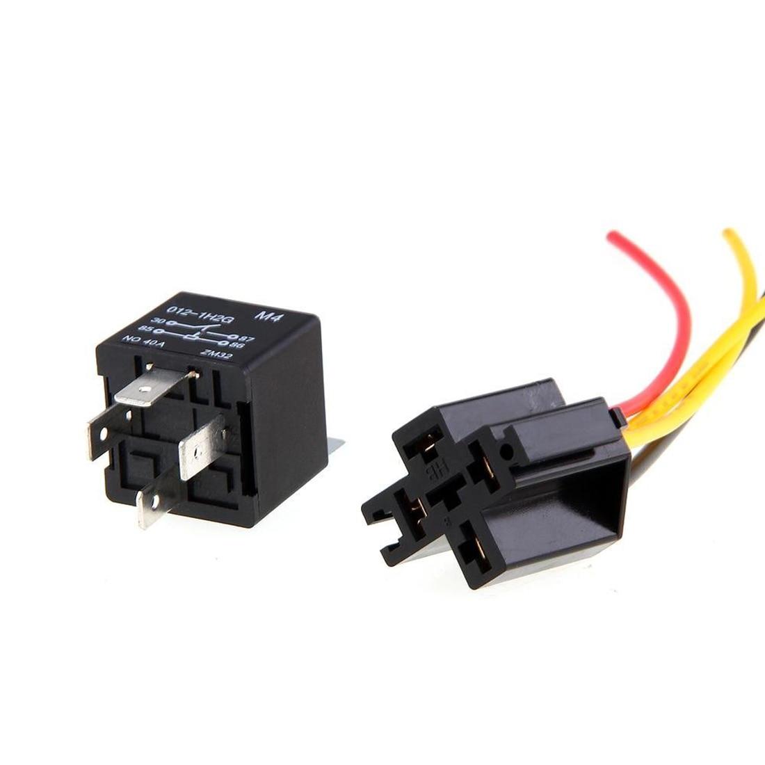 Dewtreetali New 2pcs 12v Spst Relay   Wire Socket Car