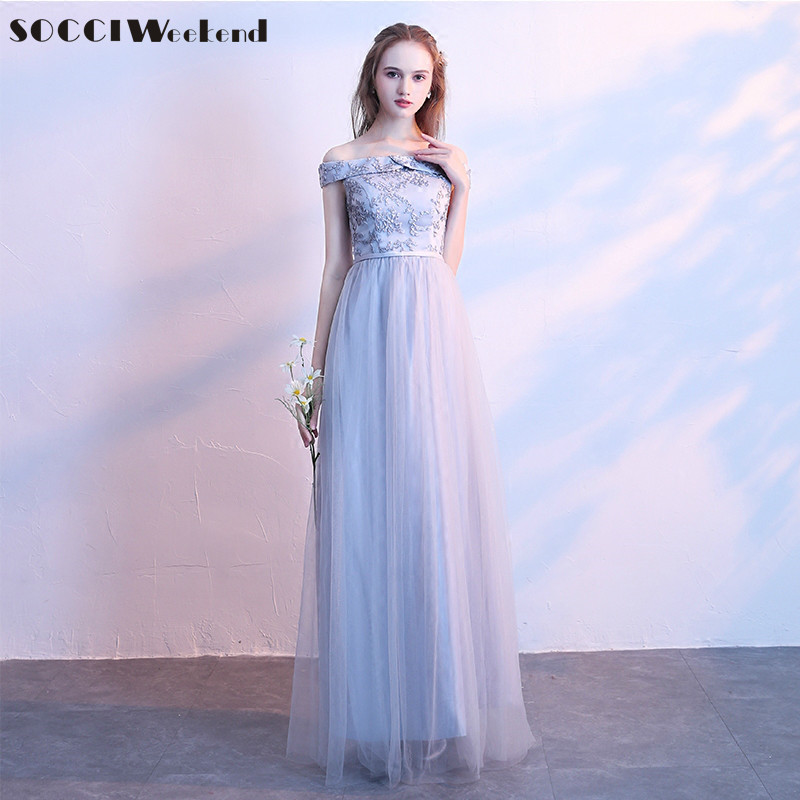 SOCCI Weekend Gray   Bridesmaid     Dress   2019 Tulle Off the Shoulder Women Formal Wedding Party   Dresses   for Bridal Prom Gowns Robe