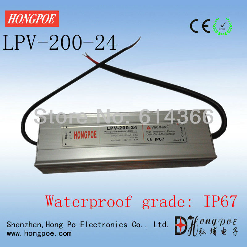 1pcs IP67 AC-DC LED driver 200W 24V power supply 200W 24V 8.3A LED Strip light Outdoor LED power supply LPV-200-24 led driver transformer waterproof switching power supply adapter ac170 260v to dc48v 200w waterproof outdoor ip67 led strip