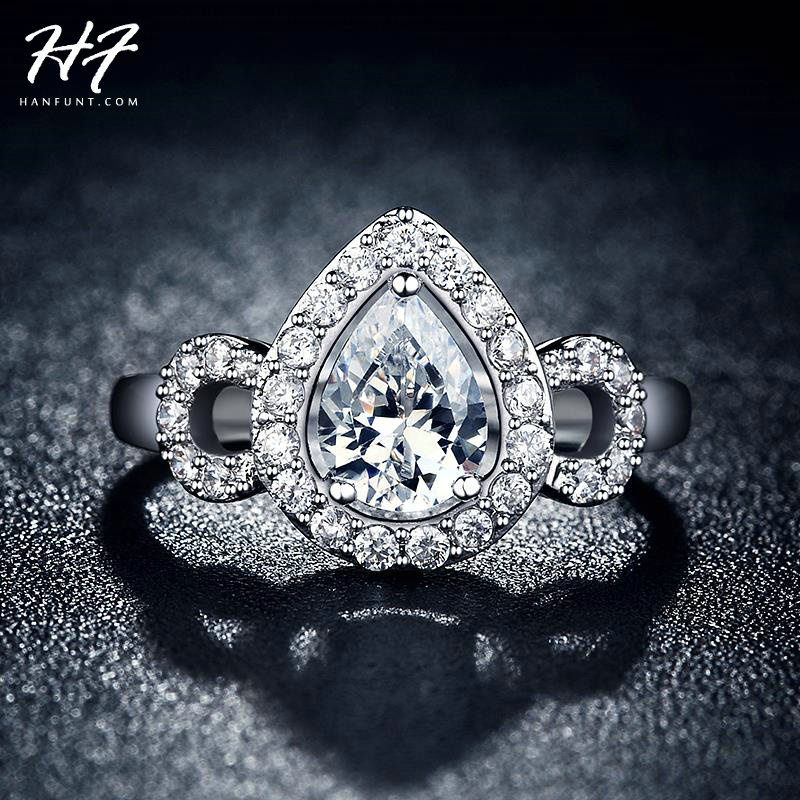 Sliver Color AAA+ CZ Cubic Zirconia Water Drop Bijoux Fashion Wedding & Engagement Ring Jewelry For Women As Love Gift R651