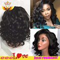 Short Synthetic Wig Heat Resistant Bob Wavy Synthetic Lace Front Wig With Baby Hair 180% Density Black Wig For Black Women Stock