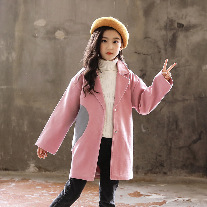 Children Jacket Coat 2019 Spring Autumn Girls Outerwear Woolen Kids Winter Clothes Fashion Girls Windbreaker 4 6 8 10 12 13 Year