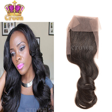 "Brazilian loose Wave hair Closure 4×4 Free, middle part, 10""-16"" Brazilian virgin hair Lace Closure Bleached Knots very soft"
