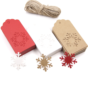 50PCS White&Red Kraft Paper Tags Handmade/Thank You DIY Crafts Labels For Christmas Favors Hang Tag Gift Wrapping Supplies