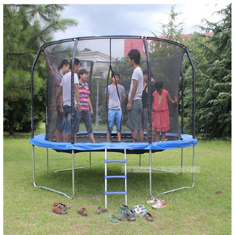 TECHSPORT 14-foot commercial trampoline with safety net bungee jumping adults with slides square park big outdoor jumping bed