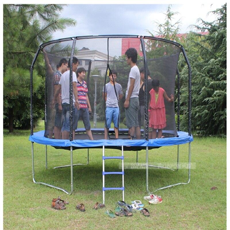 TECHSPORT trampoline commercial de 14 pieds avec filet de sécurité saut à l'élastique adultes avec toboggans parc carré grand lit de saut en plein air
