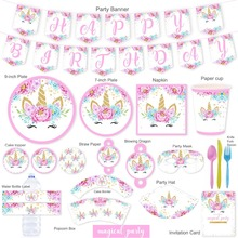 Omilut Unicorn Party Supplies Birthday Decor Disposable Tableware Paper Plates Cups Baby Shower 1th Girl