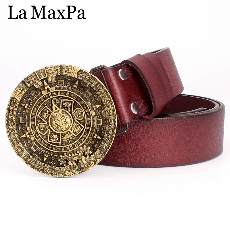 Men's Fashion Belt Round Buckle Aztec Sun Calendar Pattern Cowskin Leather Mayan Aztec Personality Gift Belt For Men
