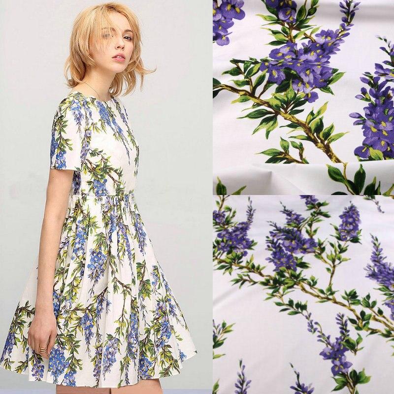 С цветочным принтом Ткань, 100% хлопок Ткань для женщин детская одежда, фиолетовые цветы хлопка Ткань для платье Вышивание DIY материал