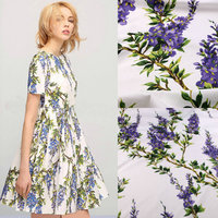Flowers Printed Fabric 100 Cotton Fabric For Women Children Clothing Purple Flowers Cotton Fabric For Dress