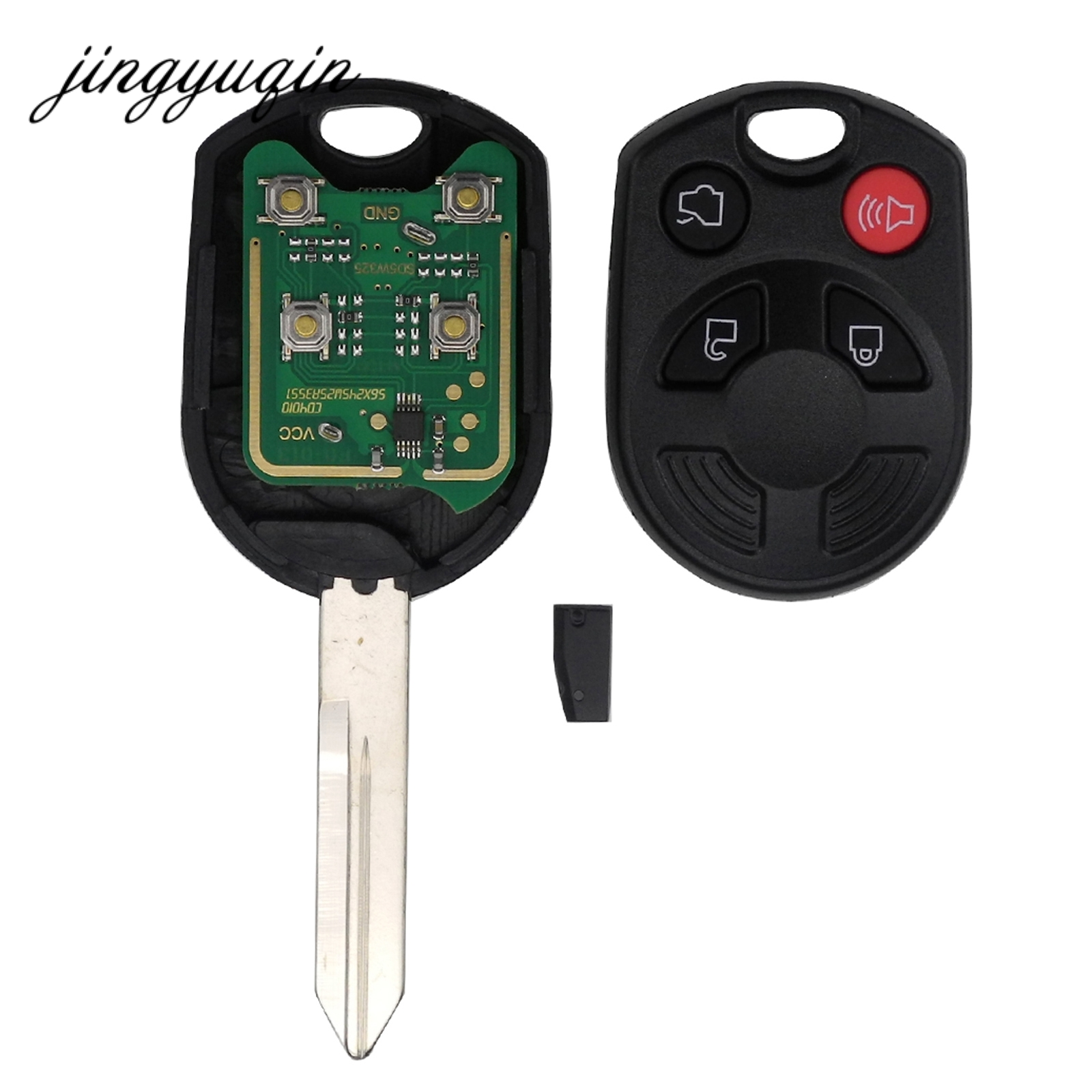 jingyuqin 4 Button Remote Car Key Fob Transmitter + 63 Chip For Ford Edge Escape Focus Lincoln Mazda Mercury OUCD6000022