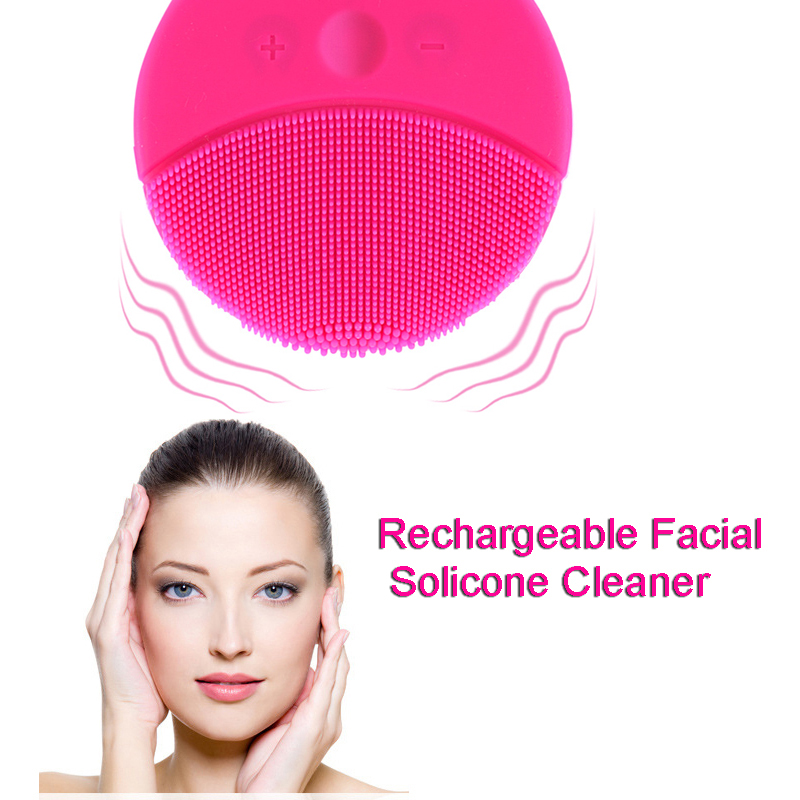 Two Color Electric Face Brush Women Silicone Facial Cleansing Massager Brush Skin Care Cleanser Dirt Remove Exfoliator Brush electric face brush women silicone facial cleansing massager brush skin care cleanser dirt remove exfoliator cleaning tool