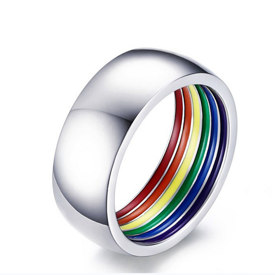 2017 New Design 8mm Men Rings Accessories Silver Color Inner Rainbow Bague  Homme Titanium Steel Anillos Wedding Band Man Jewelry