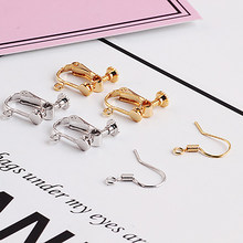 2pcs color proof plated gold free pierced non piercing adjustable screw earring clips ear wire hooks for diy jewelry findings(China)