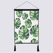 Nodic Green Leaf Print Hanging Painting Wall Art Picture Poster Cotton Modern Solid Wood Paint By Number Background Home Decor