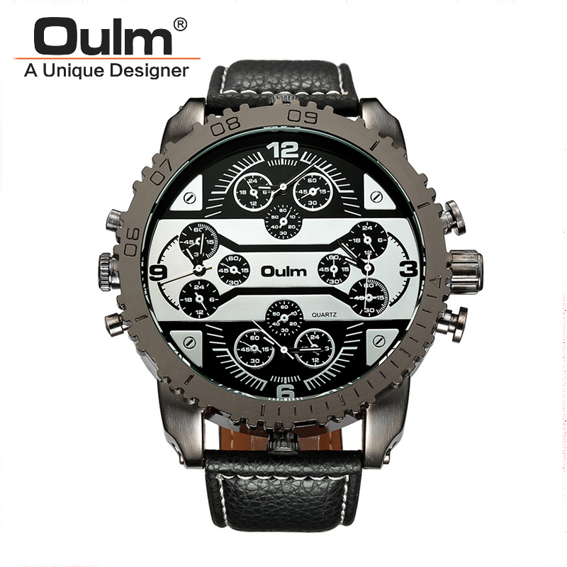 OULM 3233 Men's Watches Aviator Military Quartz Watch Clock Wristwatch Leather Strap 4 Time Zone Oversize Montre Homme