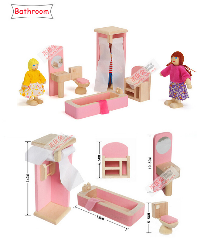 Новый Стиль 2016 дети смешные детские симулировать роль деревянная игрушка кукольный домик Ванная комната миниатюрный Мебель