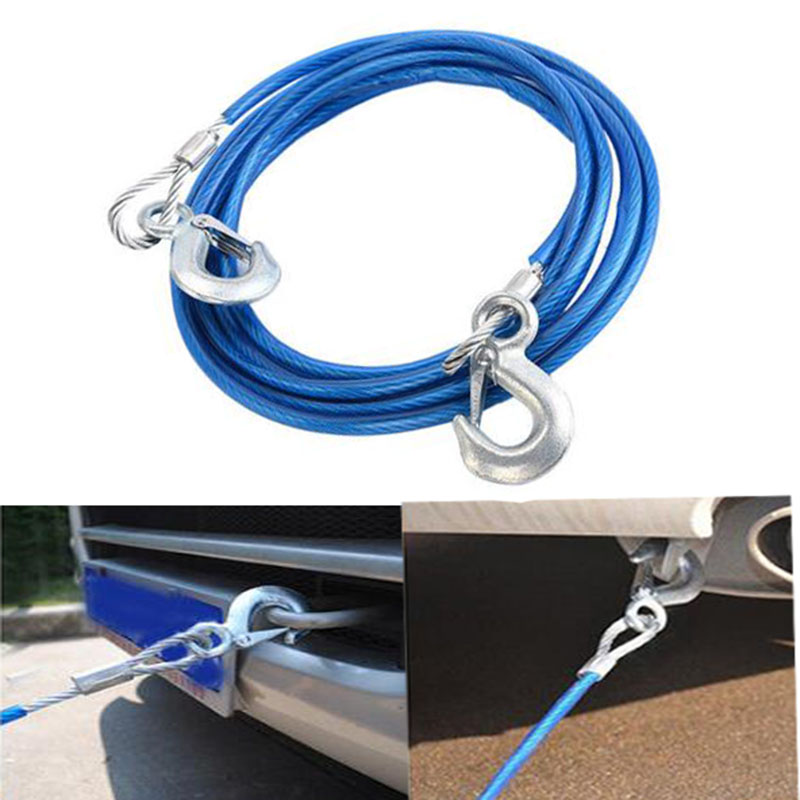 Car Tow Rope Strap High Strength Nylon Strap with Strong Hook Towing Cable Orange