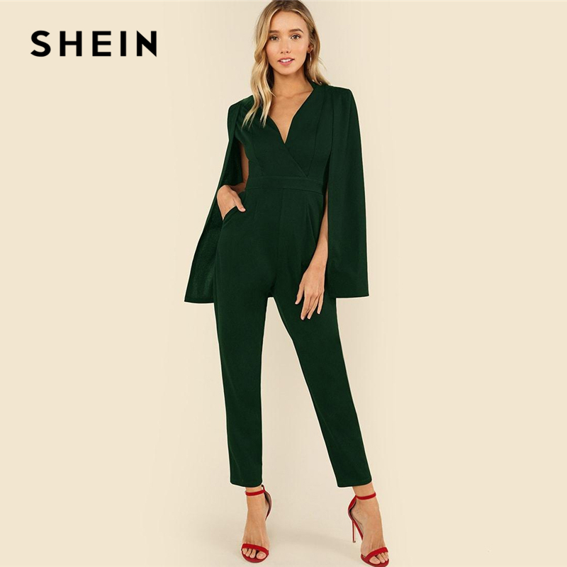 fe25d251aa4ea SHEIN Green Plunging Neck Cloak Sleeve Solid Jumpsuit Elegant V neck High  Waist Jumpsuits Women Autumn