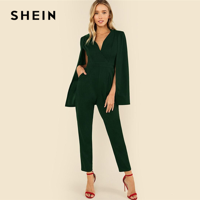 SHEIN Green Plunging Neck Cloak Sleeve Solid Jumpsuit Elegant V neck High  Waist Jumpsuits Women Autumn 038e83352813