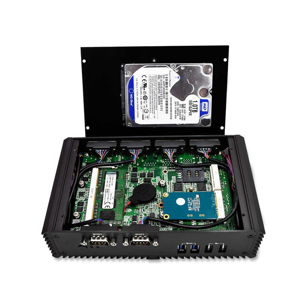 Qotom Mini Komputer PC Celeron 3215U 6 Port Serial, 2 Video HD, dual Core 2 Ethernet LAN Tanpa Kipas Mini PC Server