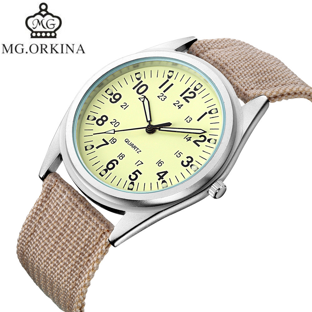 2017 MG.Orkina Fashion Horloges Mannen Watch Men's Quartz Nylon Luminous Wristwatch Watches Gift Box Free Ship fashion men s horloges mannen roman auto day quartz stopwatch sport men s watch mens wirst watches gift box free ship