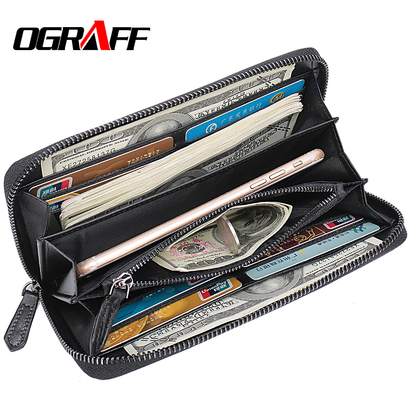 OGRAFF Long Mens Wallet Leather Genuine Coin Purse Men Clutch Male credit card holder Money Bag Phone Wallet Big Walet Business ograff genuine leather men wallet clutch male wallets business card holder coin purse mens luxury wallet men s passport package