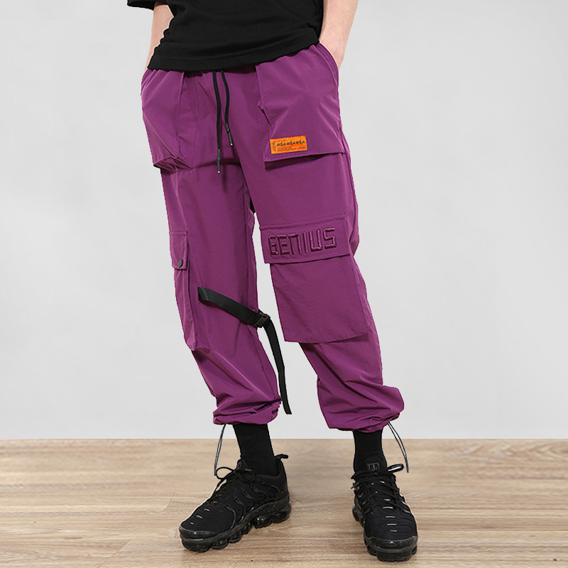 April MOMO Buckle Straps Cargo Pants Hip Hop Multi Pockets Baggy Man Joggers Casual Sweatpants Male Streetwear Trousers 788