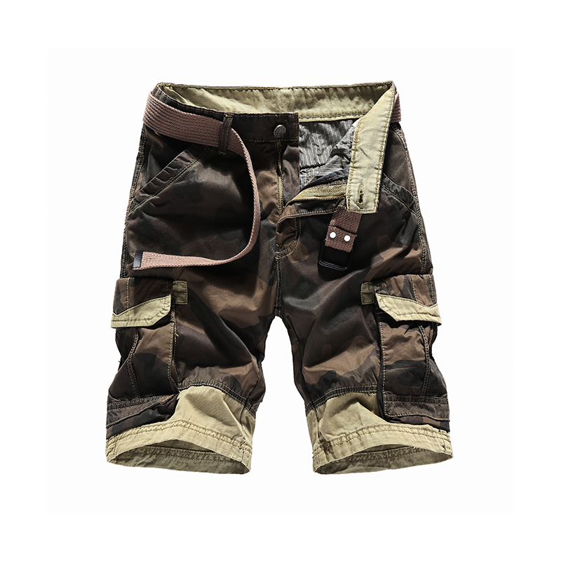 2018 Men's Shorts With Pockets Camouflage Cargo Shorts For Men Straight Mens Bermuda Shorts Outwear Camo Military Design No Belt