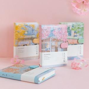 Image 1 - Yaratıcı gündem romantik kiraz çiçeği dizüstü illüstrasyon ızgara el boyalı okul günlüğü ofis malzemeleri dosyaları