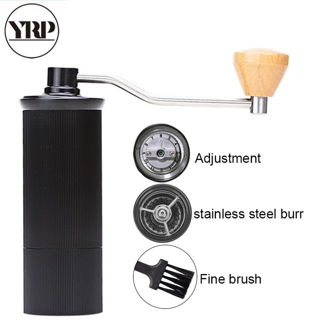 YRP Mini Aluminum Alloy Manual Coffee Grinder Stainless Steel Burr Grinding Conical Coffee Bean Miller Coffee Mill Dulex Bearing