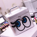 Women PU Travel Cosmetics Bag Organizer Zipper Wash Toiletry Large Capacity Multifunction Storage Bag Cartoon Eyes MakeUp Bag