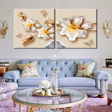 2 pieces Modular 3D HD pictures Household adornment flowers image art wall oil painting Print on modern canvas print(no frame)