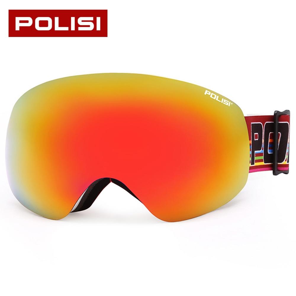 Prix pour Nouveau POLISI marque ski lunettes double couches UV400 anti-brouillard grand masque de ski lunettes de ski hommes femmes neige snowboard lunettes
