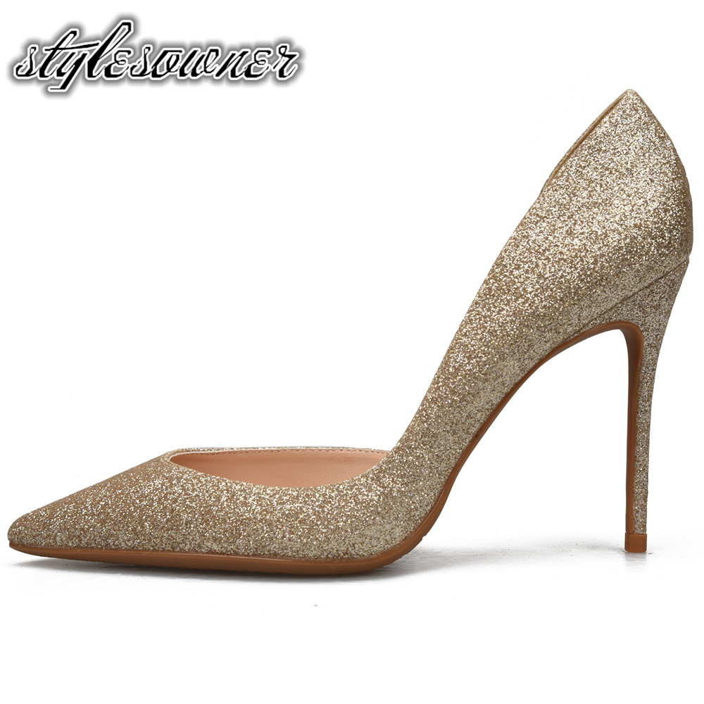 Stylesowner 2018 Top Sale High Heels Woman Pumps Thin Heel Woman Wedding Shoes Gold Black Silver Color Sexy Pointed Toe Stiletto цена