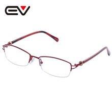 Nuevas mujeres de moda de Metal gafas con media montura de lente claro óptico gafas marcos titanio gafas sin montura marco EV1354
