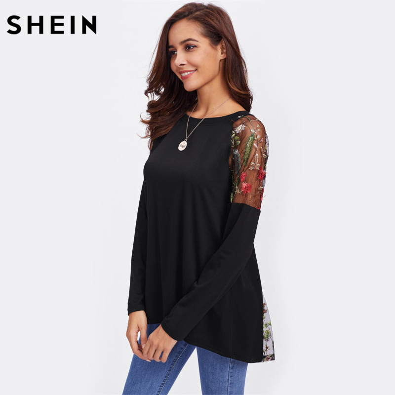 4c9e53a27b SHEIN Lace Shoulder Bow Overlap Back Tee Long Sleeve T shirt Women Black  2017 New Fashion Autumn Womens Sexy T shirt-in T-Shirts from Women's  Clothing ...