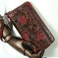 Organizador Monedero de la cartera de marcas de lujo de la flor en relieve Larga diseñador Alta calidad carteira feminina señoras bolso de Cuero Genuino