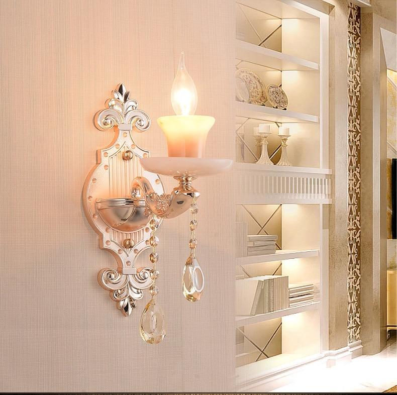 TUDA Free Shipping European Style Crystal Wall Lamp Corridor Bedroom Decoration Wall Lamp Vintage Design Zinc Alloy Wall Lamp european style crystal droplight 15 heads k9 crystal with free shipping