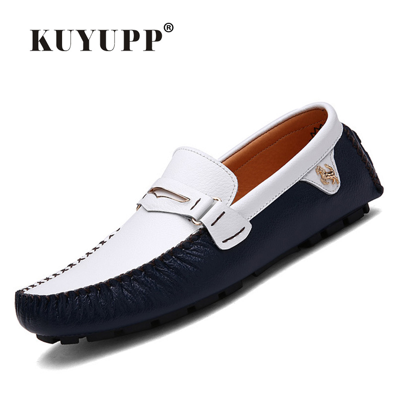 2016 Fashion KUYUPP Genuine Leather Men Loafers Shoes Casual Flat Heel Driving Flat Shoes Slip On Mens Flats Mocassin Homme H25 aleader mens leather loafers new 2017 casual flat shoes men driving moccasins fashion slip on mens working flats sapatos