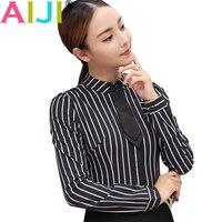 Autumn Women S Long Sleeve Blouse OL Elegant Stripe Bow Tie Turn Down Collar Formal Chiffon