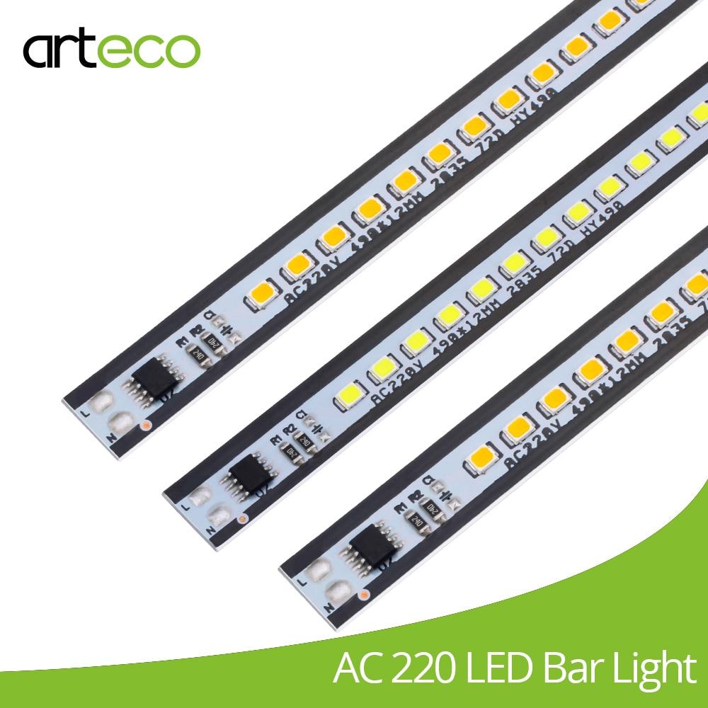 10PCS 49CM LED bar Light SMD2835 72LEDs 220V Ultra Thin Aluminium No need driver LED Hard strip Light White,Warm white