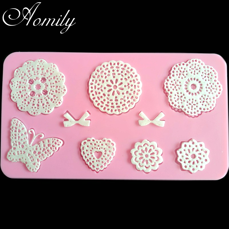 Aomily Lace Flower Butterfly Wedding Cake Silicone Beautiful Flower Lace Fondant Mold Mousse Sugar Craft Icing Mat Pastry Tools