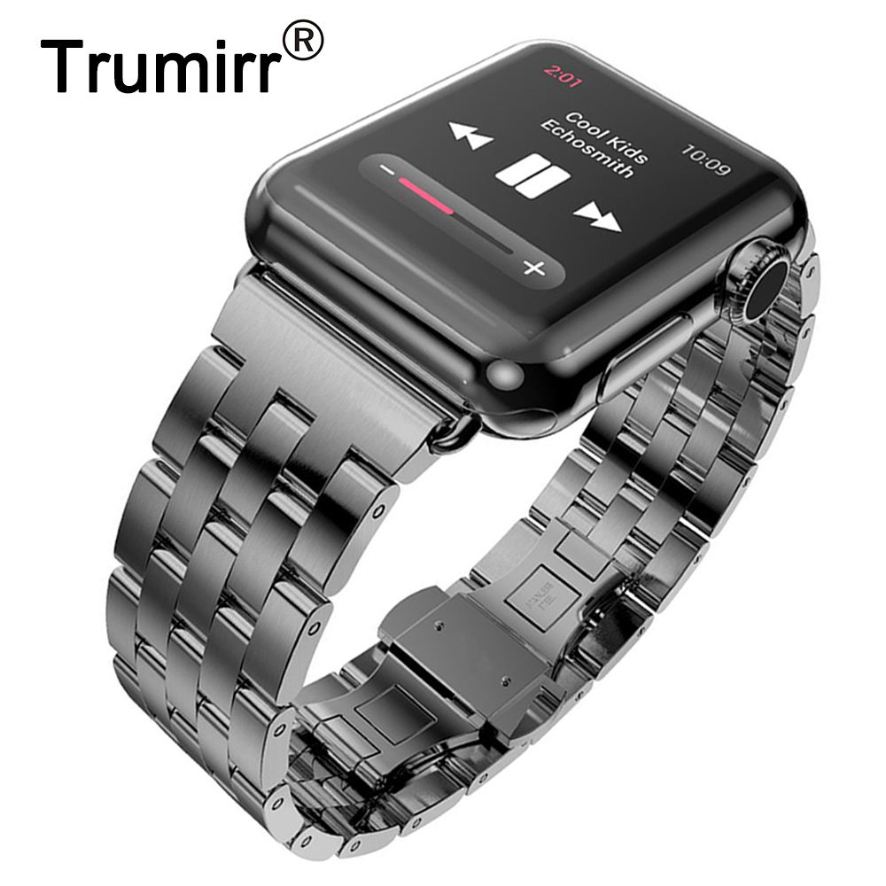 Stainless Steel Watchband for iWatch Apple Watch / Sport / Edition 38mm 42mm Wrist Band Strap Bracelet with adapter Black Silver