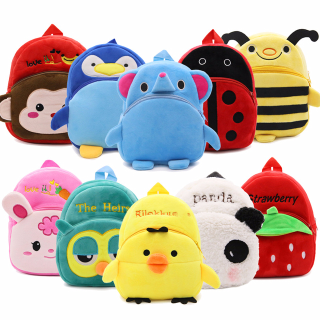 7f8208bae9 Cute Cartoon Baby Toy School Bag Animal Shape Mini Plush Backpack Kids  Outdoor Travel Pack Bag