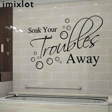 Imixlot English PoetrySoak Your Trouble Away Environmental Protection DIY Art Poster Wall Sticker Bathroom Waterproof