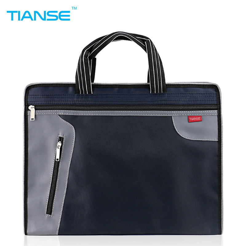 TIANSE A4 Business Commercial Document Bag Tote file folder Filing Meeting Bags Pocket office bag Side Zipper protable canvas