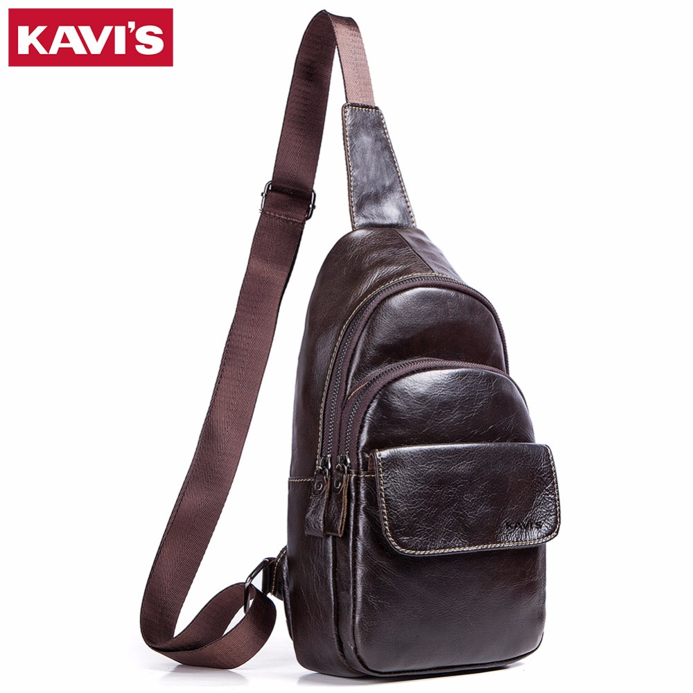 KAVIS 2019 100 Genuine Leather Chest Bag Men Shoulder Clutch Handbag Male Bags Bolsas Crossbody Messenger