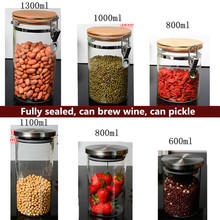 Buy Food Storage Glass Jar No Lead Kitchen Storage Bottles Sealed Cans with Cover Large Capacity Candy Glass Jars Tea Box H10560 directly from merchant!